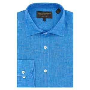 Sky Blue Linen Tailored Shirt
