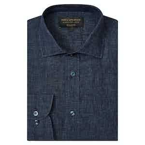 Navy Blue Linen Tailored Shirt