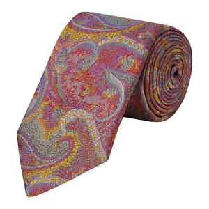 Pink Blurred Paisley Woven Silk Tie