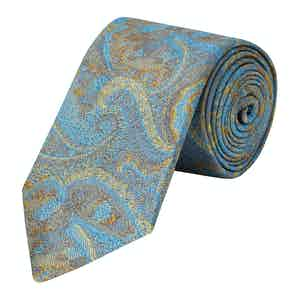 Turquoise Blurred Paisley Woven Silk Tie