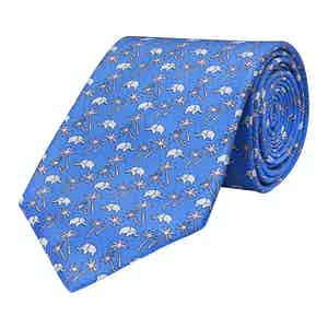 Blue Silk Elephant Print Tie