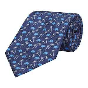 Navy Blue Silk Elephant Print Tie