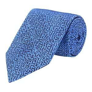 Blue Silk Maze Print Tie