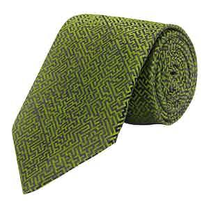 Olive Silk Maze Print Tie