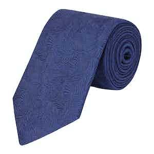Navy Blue Seaweed Print Tie