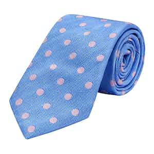 Blue and Pink Spotted Silk Tie