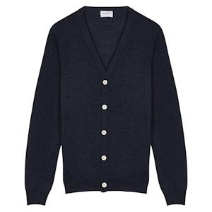 Navy Fine Lux Merino-Silk-Cashmere Wool Cardigan