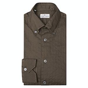 Angelo Inglese Brown Basket-Weave Self-Striped Cotton Shirt