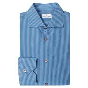 Angelo Inglese Blue Pencil-Striped Cotton Shirt