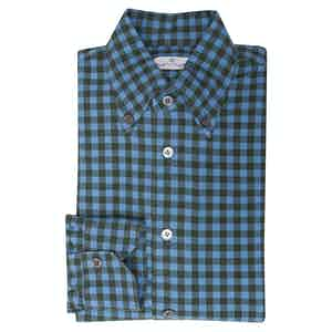 Angelo Inglese Blue and Green Gingham Check Cotton Shirt