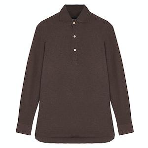 Dusty Chocolate Canclini Cotton Pique P014 Polo Shirt