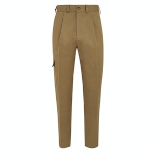 Light Taupe Brown Cotton T012 Cargo Trousers