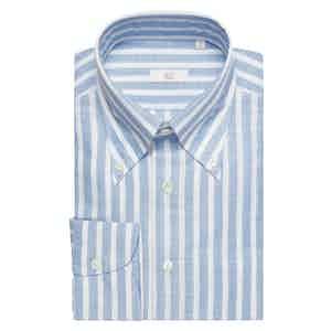 Pale Blue Wide-Striped Cotton-Linen Slim Shirt