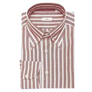 Red Wide Stripe Cotton-Linen Slim Shirt