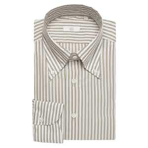 Japanese Featherlite Brown Stripe Cotton Slim Shirt