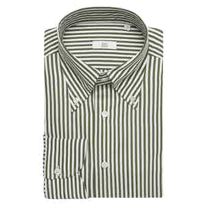 Bold Olive Stripe Cotton Slim Shirt
