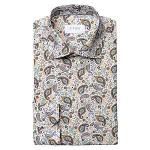 Green Multi Paisley Cotton Poplin Slim Fit Shirt