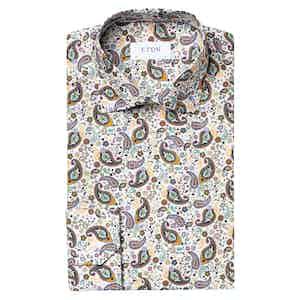 Green Multi Paisley Cotton Poplin Contemporary Fit Shirt