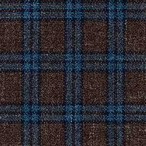 Brown and Blue Wool-Silk-Linen-Polyamide Hopsack Fabric