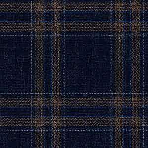 Indigo and Beige Wool-Silk-Linen-Polyamide Hopsack Fabric
