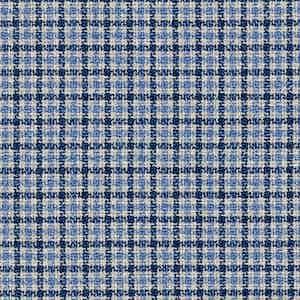 Indigo and Blue Wool-Silk-Linen-Polyamide Hopsack Fabric