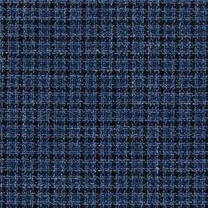 Blue and Navy Wool-Silk-Linen-Polyamide Hopsack Fabric