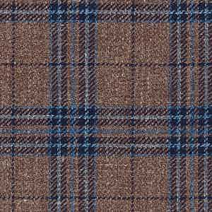 Brown and Blue Linen-Silk-Cotton Batavia Worsted Fabric
