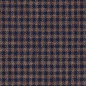 Brown and Navy Damier Linen-Silk-Cotton Batavia Fabric