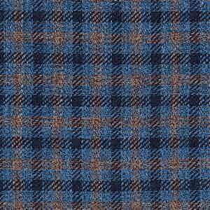 Blue and Beige Damier Linen-Silk-Cotton Batavia Fabric