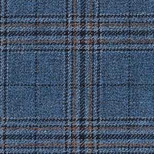 Indigo, Blue and Beige Damier Linen-Silk-Cotton Batavia Fabric