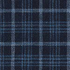 Blue and Indigo Damier Linen-Silk-Cotton Batavia Fabric