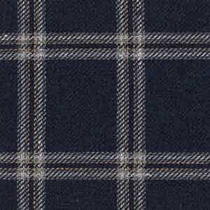 Blue Damier Linen-Silk-Cotton Batavia Fabric