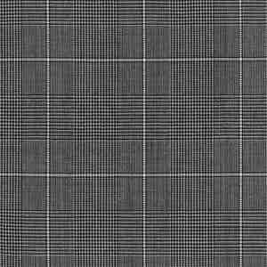 Light Grey Prince of Wales Check Plain Wool Fabric