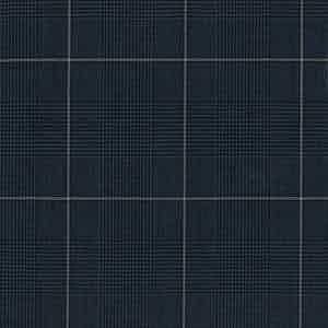 Navy Prince of Wales Check Plain Wool Fabric