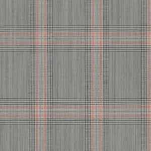 Grey-Red Overcheck Light Panama Wool Fabric