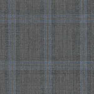 Grey-Sky Blue Overcheck Light Panama Wool Fabric