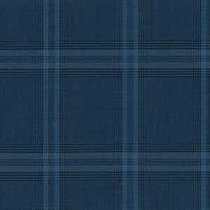 Deep Blue-Grey Overcheck Panama Wool Fabric