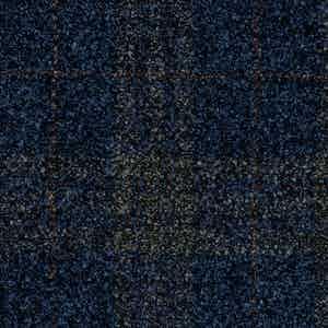 Navy Prince of Wales Batavia Wool-Polyamide-Silk-Linen Fabric