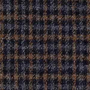 Grey and Brown Damier Check Batavia Wool-Polyamide-Silk-Linen Fabric