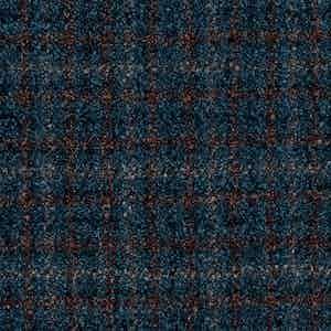 Blue and Brown Damier Check Batavia Wool-Polyamide-Silk-Linen Fabric