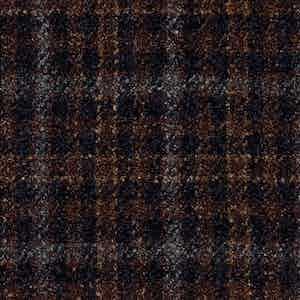 Black and Brown Damier Check Batavia Wool-Polyamide-Silk-Linen Fabric