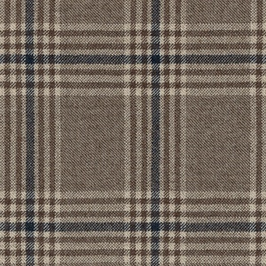 Beige Prince of Wales Worsted Wool-Cashmere Twill Fabric