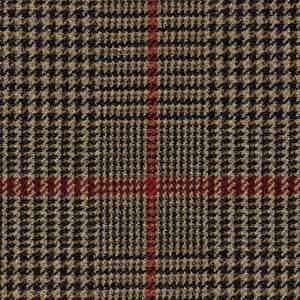 Red and Brown Ribbed Weave Virgin Wool Fabric