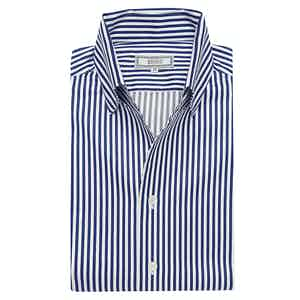 Navy Stripe Satin Business Casual Leisure Shirt