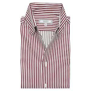Merlot Red Stripe Satin Business Casual Leisure Shirt