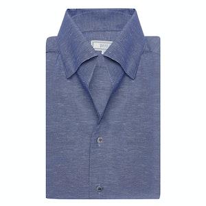 Navy Cotton & Linen Weekend Leisure Shirt