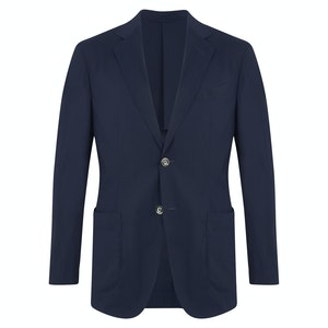 Dark Navy Wool, Silk and Technical Fibre Business Casual Travel Jacket