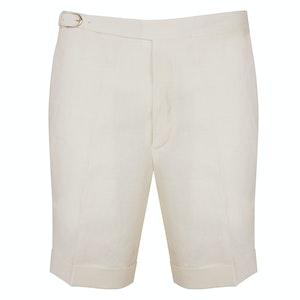 Ivory Linen Iconic Self Belt Leisure Shorts