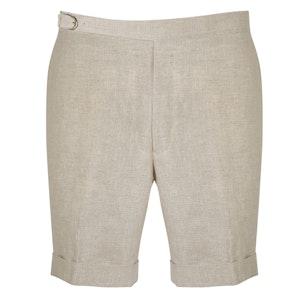 Beige Linen Iconic Self Belt Leisure Shorts