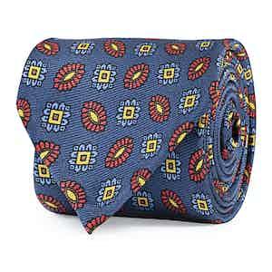 Blue and Orange Floral Silk Tie